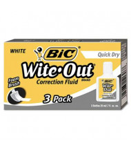 BIC Wite-Out Quick Dry Correction Fluid, 20 ml Bottle, White, 3-Pack