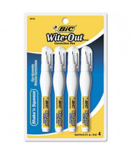 BIC Wite-Out Shake 'n Squeeze Correction Pen, 8 ml, White, 4-Pack