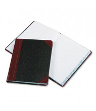 "Boorum & Pease 7-5/8"" x 9-5/8"" 300-Page Record Rule Account Book, Black/Red Cover"