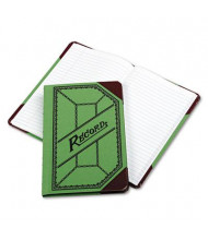"Boorum & Pease 6"" x 9-1/2"" 208-Page Miniature Account Book, Green/Red Canvas Cover"