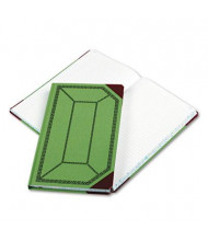 "Boorum & Pease 7-5/8"" x 12-1/2"" 300-Page Record Rule Account Book, Green/Red Cover"