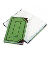 "Boorum & Pease 7-5/8"" x 12-1/2"" 500-Page Record Account Book, Green/Red Cover"