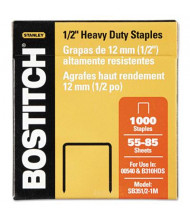 "Stanley Bostitch 85-Sheet Capacity Heavy-Duty Staples, 1/2"" Leg, 1000/Box"