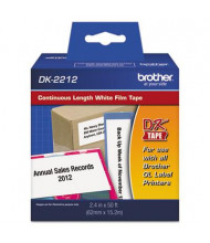 """Brother DK2212 Continuous Film 2.4"""" x 50 ft. Label Tape Roll, White"""