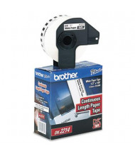 """Brother DK2214 Continuous Paper .47"""" x 100 ft. Label Tape Roll, White"""
