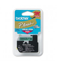 "Brother P-Touch M731 M Series 1/2"" x 26.2 ft. Tape Cartridge, Black on Green"