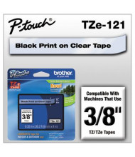 """Brother P-Touch TZE121 TZe Series 3/8"""" x 26.2 ft. Standard Labeling Tape, Black on Clear"""