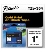"""Brother P-Touch TZE354 TZe Series 1"""" x 26.2 ft. Standard Labeling Tape, Gold on Black"""