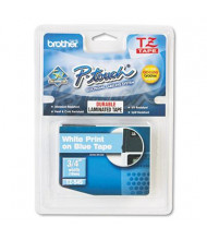 """Brother P-Touch TZE545 TZe Series 3/4"""" x 26.2 ft. Standard Labeling Tape, White on Blue"""