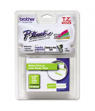 "Brother P-Touch TZEMQG35 TZe Series 1/2"" x 16.4 ft. Standard Labeling Tape, White/Lime Green"