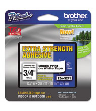 "Brother P-Touch TZES241 TZe Series 3/4"" x 26.2 ft. Labeling Tape, Black on White"