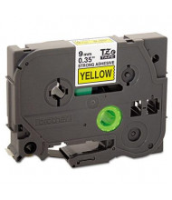 """Brother P-Touch TZES621 TZe Series 3/8"""" x 26.2 ft. Labeling Tape, Black on Yellow"""