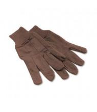 Boardwalk One Size 9oz Jersey Knit Wrist Clute Gloves, Brown, 12 Pairs