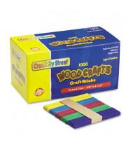 "Chenille Kraft 4-1/2"" x 3/8"" Colored Wood Craft Sticks, Assorted, 1000/Box"