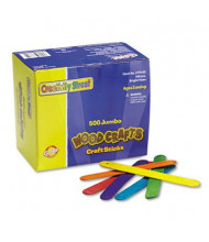 "Chenille Kraft 6"" x 3/4"" Jumbo Colored Wood Craft Sticks, Assorted, 500/Box"
