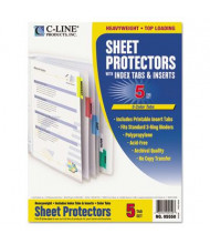 "C-Line 8-1/2"" x 11"" Poly Sheet Protectors with Index Tabs, Assorted, 5/Set"