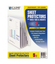 "C-Line 8-1/2"" x 11"" Poly Sheet Protectors with Index Tabs, Clear, 5/Set"