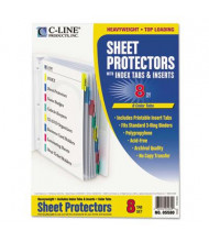 """C-Line 8-1/2"""" x 11"""" Poly Sheet Protectors with Index Tabs, Assorted, 8/Set"""