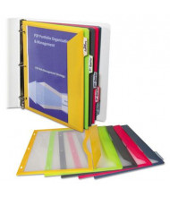 "C-Line 8-1/2"" x 11"" Binder Pocket With Write-On Index Tabs, Assorted, 5/Set"