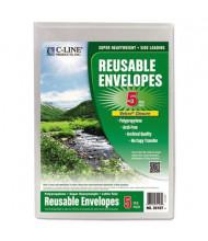 """C-Line 9-1/4"""" x 12-4/5"""" Hook & Loop Closure Reusable Poly Envelope, Clear"""
