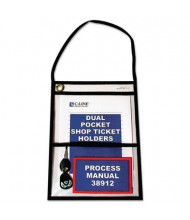 "C-Line 9"" x 12"" Dual-Pocket Clear Shop Ticket Holder with Strap, 15/Box"