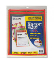 "C-Line 9"" x 12"" Stitched Shop Ticket Holder, Assorted Colors, 10/Box"
