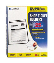 "C-Line 8-1/2"" x 11"" Clear Stitched Shop Ticket Holder, 25/Box"