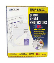 "C-Line 8-1/2"" x 11"" Top-Load Super Heavyweight Non-Glare Poly Sheet Protectors, 50/Box"