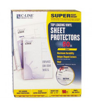 "C-Line 8-1/2"" x 11"" Super Heavyweight Clear Vinyl Sheet Protectors, 50/Box"