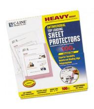 "C-Line 8-1/2"" x 11"" Top-Load Heavy Antimicrobial Sheet Protectors, 100/Box"