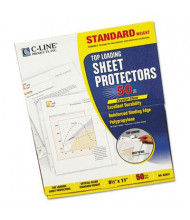 "C-Line 8-1/2"" x 11"" Top-Load Standard Clear Poly Sheet Protectors, 50/Box"
