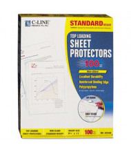 "C-Line 8-1/2"" x 11"" Top-Load Standard Non-Glare Poly Sheet Protectors, 100/Box"