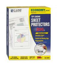 """C-Line 8-1/2"""" x 11"""" Top-Load Economy Non-Glare Poly Sheet Protectors, 200/Box"""