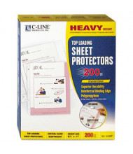 "C-Line 8-1/2"" x 11"" Top-Load Heavyweight Clear Poly Sheet Protectors, 200/Box"