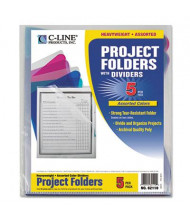 C-Line Multi-Section Letter Project Folders with Dividers, Assorted, 5-Pack