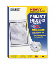 C-Line Multi-Section Letter Project Folders with Dividers, Clear, 25-Pack