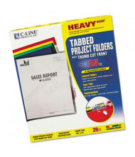 C-Line Heavyweight Tabbed Letter Poly Jacket Folders, Assorted, 25/Box