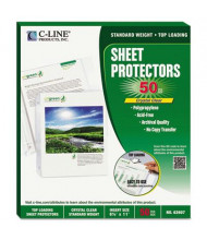 "C-Line 8-1/2"" x 11"" Top-Load Clear Specialty Poly Sheet Protectors, 50/Box"