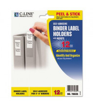 """C-Line 2-1/4"""" x 3"""" Self-Adhesive Binder Label Holders, Clear, 12/Pack"""