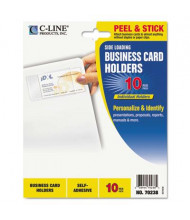 "C-Line 3-1/2"" x 2"" Side-Load Self-Adhesive Business Card Holders, 10/Pack"