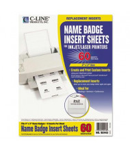 "C-Line 4"" x 3"" Additional Name Badge Inserts, White, 60/Pack"