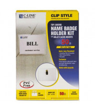 "C-Line 3-1/2"" x 2-1/4"" Top Load Badge Holder Kits, White, 50/Box"