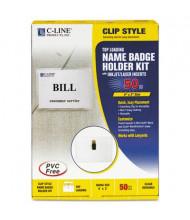 "C-Line 4"" x 3"" Top Load Badge Holder Kits, White, 50/Box"