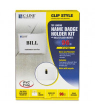 "C-Line 4"" x 3"" Top Load Clip Badge Holder Kits, 96/Box"