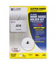 "C-Line 4"" x 3"" Top Load Clip & Pin Badge Holder Kits, White, 50/Box"