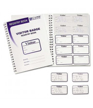 "C-Line 3-1/2"" x 2"" Visitor Badges with Registry Log, White, 150/Box"