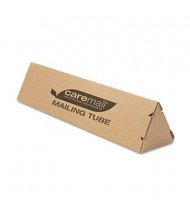 "Caremail 4"" x 18"" Triangular Mailing Tube, Brown, 12/Pack"