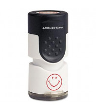 "Accustamp ""Smiley"" Pre-Inked Round Stamp with Microban, Red Ink, 5/8"""