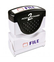 "Accustamp2 ""File"" Shutter Stamp with Microban, Red/Blue Ink, 1-5/8"" x 1/2"""
