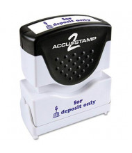 "Accustamp2 ""For Deposit"" Only"" Shutter Stamp with Microban, Blue Ink, 1-5/8"" x 1/2"""